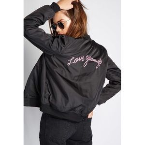 Forever21 love yourself bomber jacket NWT black